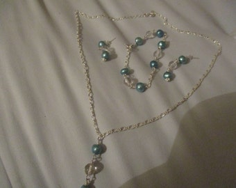 Aqua Freshwater pearl and clear quartz necklace, bracelet and earrings