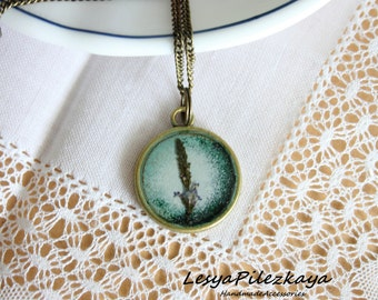 real herbal pendant - nature jewelry - round green pendant
