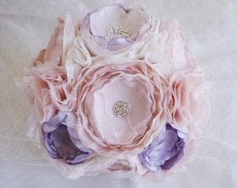 Fabric flower bouquet, dusty lavender fabric bouqhet, blush fabric flower bouquet