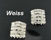 This item is ON SALE WEISS rectangular clear diamante prong set rhinestone clip back earrings Vintage Signed wedding bride jewelry