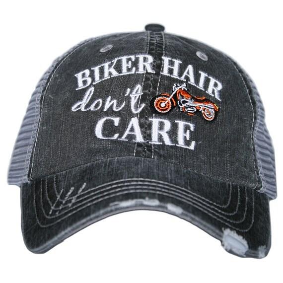 biker hair don t care trucker style hat baseball cap
