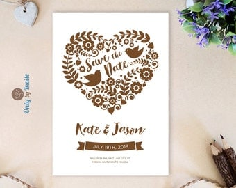 Save the date cards printed | Love birds save the dates | Heart themed save the dates | Country wedding save the date cards