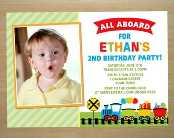 Train Birthday Invitation - Digital File (Printing Services Available)