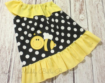 Fun Bumblebee Polka Dot One Shoulder Dress - Girls Dress, One Shoulder, Bee, Bumblebee, Summer, Girls Summer Dress, Bee Dress