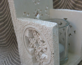 Vintage Cross Gaelic Stone Candle Holder-with glass and votive candle