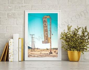 Route 66 decor Bagdad cafe Motel Garage decor California art route 66 sign arizona photography/large wall art/kids room art/boy room decor
