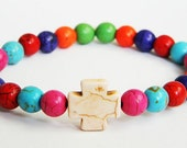Bone White Chunky Cross with Multi-Colored Beaded Bracelet (Crafted in the USA)