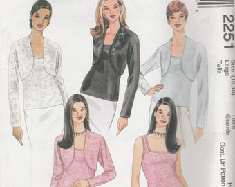 McCall's 2251 Size 16-18 or 20-22 Misses' Shrug and Top Sewing Pattern 1999 UnCut