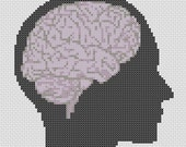 Human Brain Head Silhouette Cross Stitch Pattern Simple & Fun PDF
