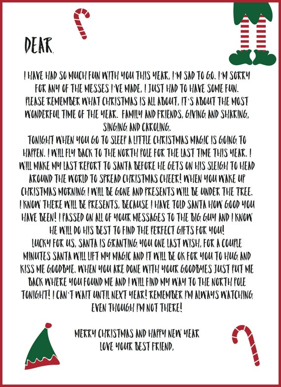 Elf Shelf Printable Notes ( Includes Welcome and Goodbye Letters and ...