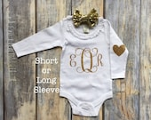 Monogrammed Baby Onesie, Baby Girl Clothes, Baby Girl Glitter Onesie, Baby Girl Bodysuit, Birthday Onesie, Baby Girl Clothing,  Shower Gift