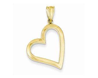 14k Gold Hollow Heart Pendant