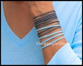 DOUBLE Boho Wrap Bracelet - Adjustable Stackable Wrapped Silver Studs Faux Suede Cord Bangle Bracelet - Instant Ship - By Alex and Renee USA
