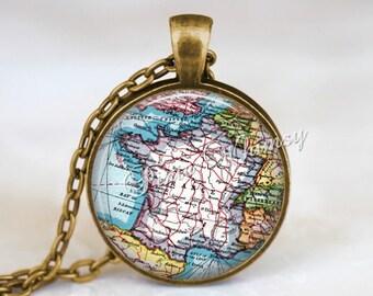 FRANCE MAP Necklace, France Pendant, France Map Pendant, France Keychain, France Necklace, France Jewely, Paris France Map, Vtg France Map