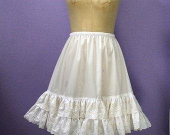Creamy White  Eyelet Petticoat , Wedding, Square Dance, Lolita, Custom Made in USA
