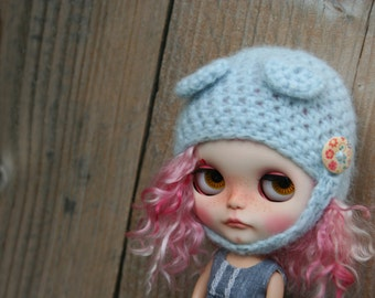 Blythe hat with ears...soft yarn..
