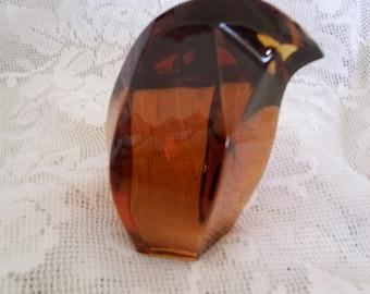 Saint-Loius France Amber Art Glass Bird