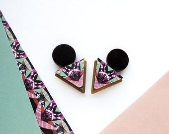 Statement Triangle & Circle Geometric Earrings / Studs  - Colourful Earrings - Gold Earrings - Earrings UK - Handmade Jewellery