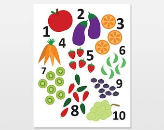 """Fruit and Veggie Numbers Poster, Counting Art Print, Vegetable Artwork, Nursery and Children's Artwork, 18x24"""""""