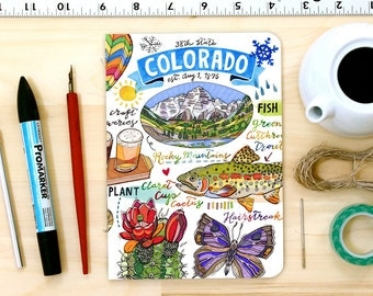 Colorado notebook, Blank journal, illustration, State Symbols, Personalized Stationery.