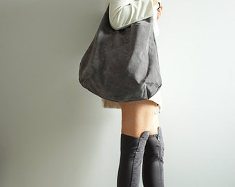 Soft Grey Large  Hobo Suede Hobo Bag