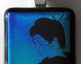 Geisha Fused Glass Dichroic Pendant