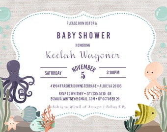 Ocean Theme Baby Shower Invitation Digital File ONLY