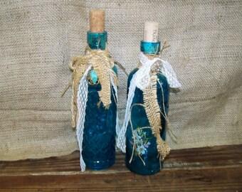 Upcycled Bottles Decorated Bottles Turquoise Bottles