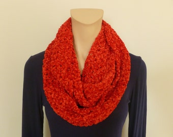 Red Chenille Infinity Scarf