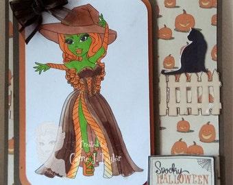 "Handmade 6""x 6"" Autumnal / Halloween Card"