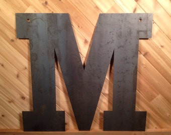 """Rustic Large Letters 20"""" Raw or Painted Metal Letter M by PrecisionCut on Etsy"""