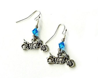 Motorcycle earrings dangling with turquoise crystal Handmade Gift