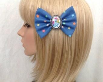 My little pony rainbow dash hair bow clip rockabilly psychobilly kawaii kitsch pin up fabric star blue retro cute  vintage ladies