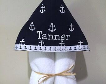 Anchors Away Nautical Hooded Bath or Beach Towel