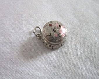 Vintage Sterling Silver Birthday Cake Mechanical Charm Bracelet Charm