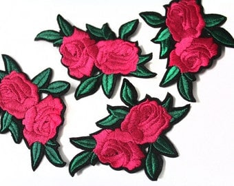 Hot Fix Iron On Embroidered Roses Patches Appliques for Crafts