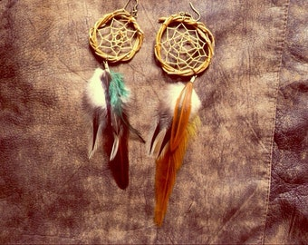 Dreamcatcher Feather Earring • boho gypsy hippie alternative indie festival summer