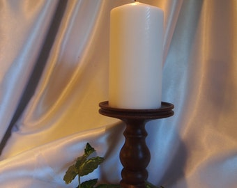 Single 6-inch Lathe-turned Candle Holder in Roasted Coffee, Made in USA