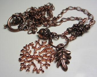 Acorn Necklace Antique Copper Oak Leaf Necklace Copper Necklace Copper Acorn Necklace Vintage Stile Branch Necklace  Gift for her
