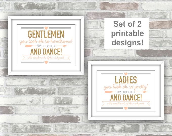 INSTANT DOWNLOAD - Printable Wedding Bathroom Pamper Station Signs - Ladies Gentlemen Get Out There And Dance - Digital Files - Gold Blush