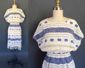 Araceli dress | Vintage handwoven huipil dress | blue and white crochet embroidered dress