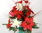 Beautiful XL Red Poinsettia's & White Spider Mums Deco Mesh 3 Inch Cemetery Vase