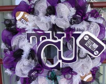TCU Horn Frogs College Football Deco Mesh Door Wreath