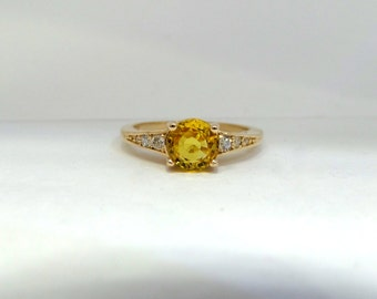 Yellow Sapphire 14 k Yellow Gold Ring with Diamonds/ Natural Yellow Sapphire 14 k Yellow Gold Ring/ Engagement Ring