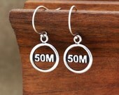 Ultra Earrings, Ultra Jewelry, 50M Earrings, 50M Ultra Jewelry, 50 Mile Earrings, Running Jewelry, Running Earrings, 50M Trail Race, Running