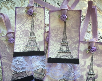 5 Parisian Gift Tags, TaGS,Handmade Tags, Lilac Tags, Lace Gift Tags, Tags, Wine Tags, Gift Tags, Art Tags., Journal Tags, No. 0805