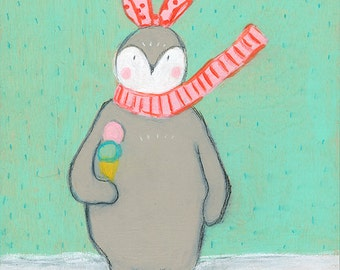 5x5 Greeting Card - Penguin with Ice Cream