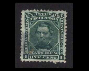 "Classic Antique (1876 Vintage: U.S. Internal Revenue 1c Proprietary Private Die Match Stamp - ""Friction MATCHES"", Westville, CT) Scott #RO99"