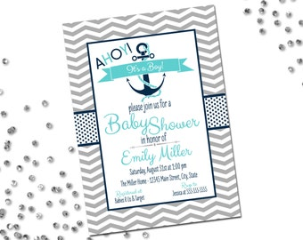 Nautical Baby Shower Invitation - Ahoy Its A Boy - Navy and Aqua - Chevron Stripes - Printable