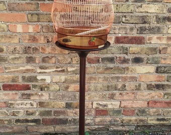 Mid Century Copper Bird Cage on Tulip Base Plastic Stand by Seven made in Italy